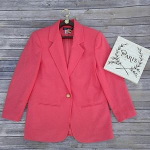💯Wool single breasted one button oversized blazer